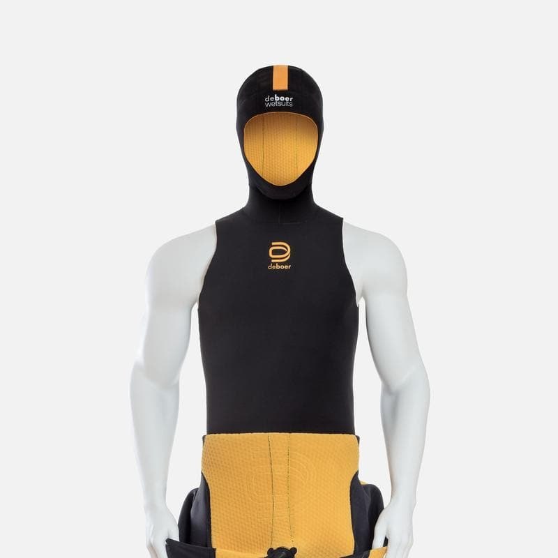 deboer polar hoodie for winter swimming.  Black limestone neoprene with yellow ThermaFur lining.  Close view