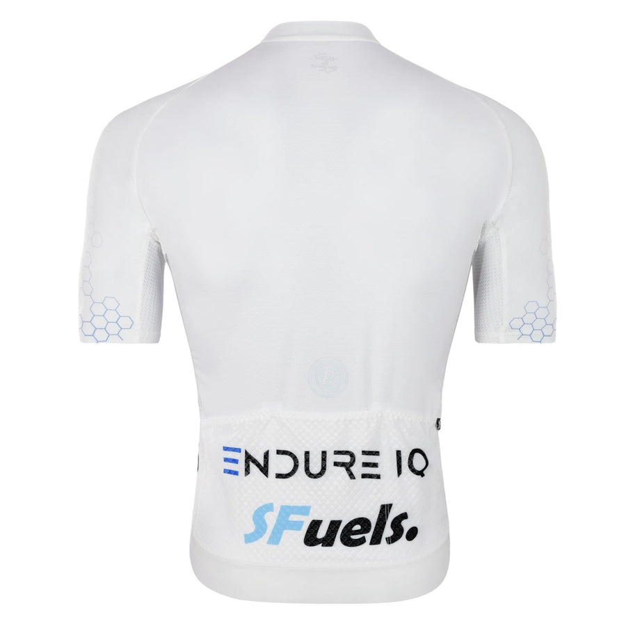 Purpose cycling race jersey for triathlon and cycling. White EndureIQ SFuels design.  Back view