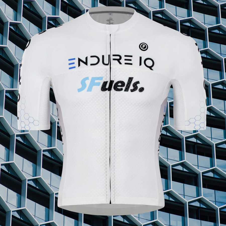 Purpose cycling race jersey for triathlon and cycling. White EndureIQ SFuels design.  Front view with background