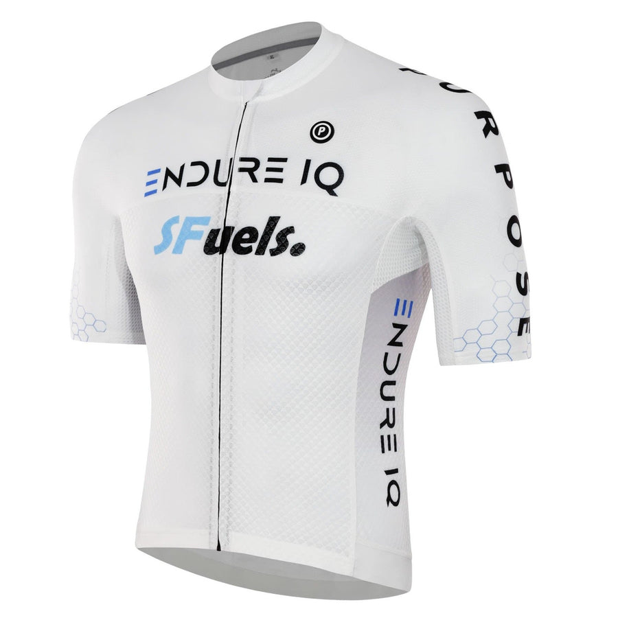 Purpose cycling race jersey for triathlon and cycling. White EndureIQ SFuels design.  Front side view