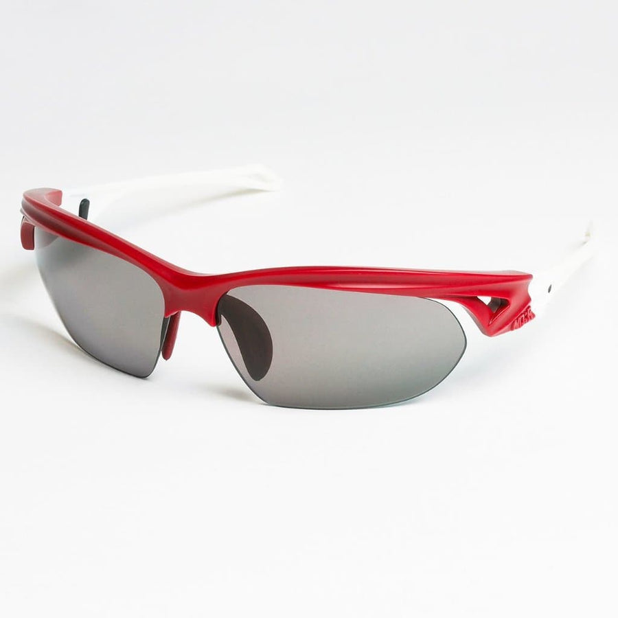 ND:R Sunglasses red and white frame with grey lenses