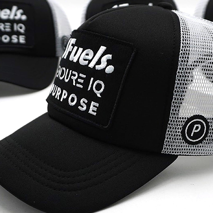 Purpose SFuels EndureIQ Run Cap. Side view. Black White