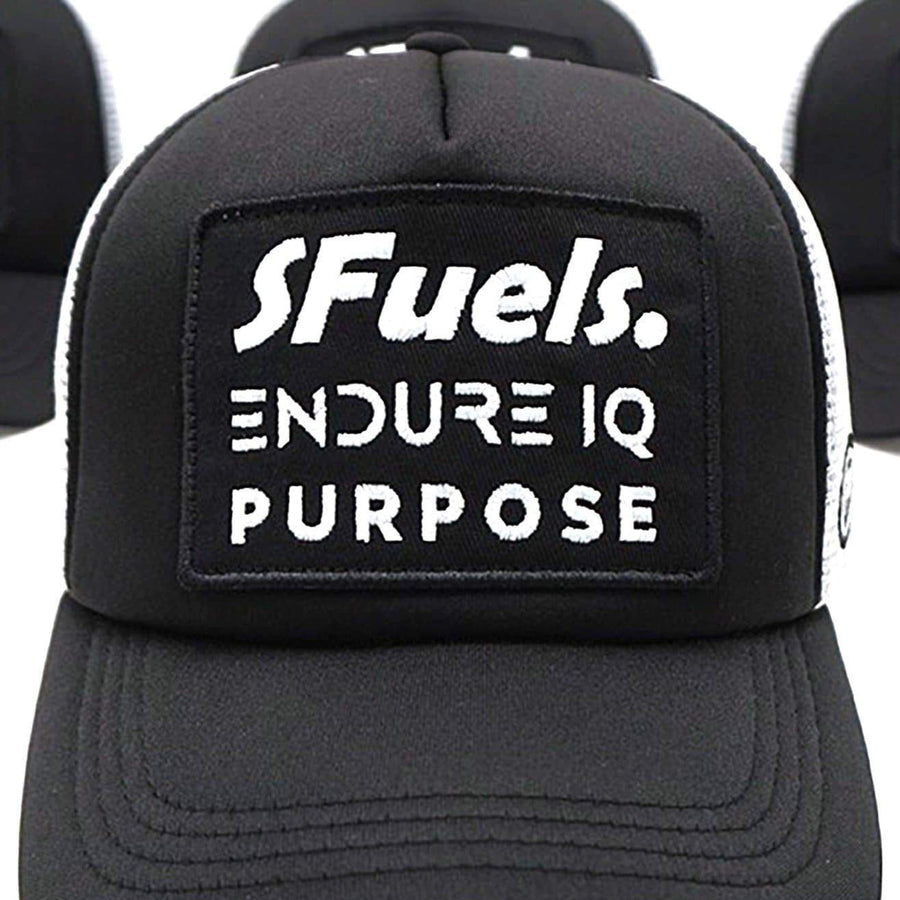 Purpose SFuels EndureIQ Run Cap. Front view. Black White