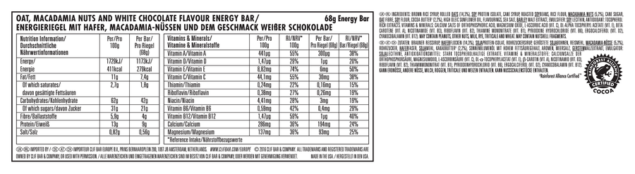 Clif Bar nutritional information: White Chocolate Macadamia flavour