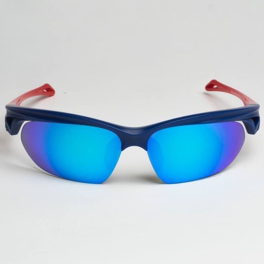 ND:R Sunglasses blue and red frame with blue lenses