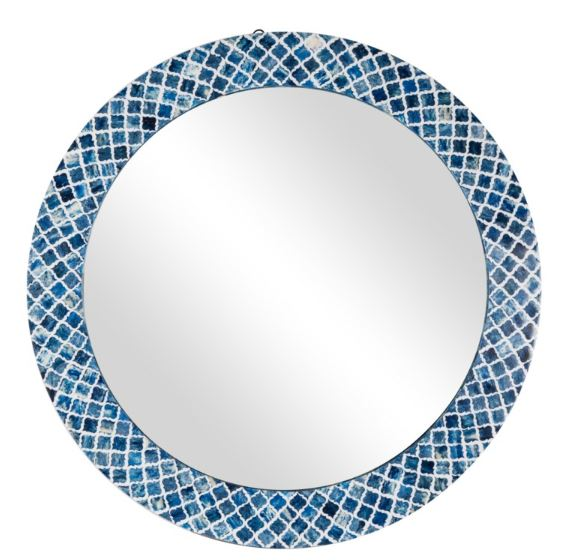 Blaine Round Bone Inlay Mirror