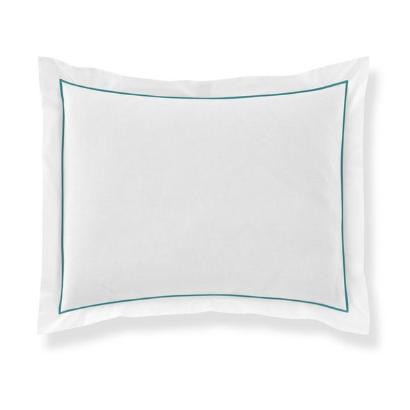 pillow sham with aqua piping