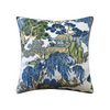 Asian Scenic Pillow, Navy