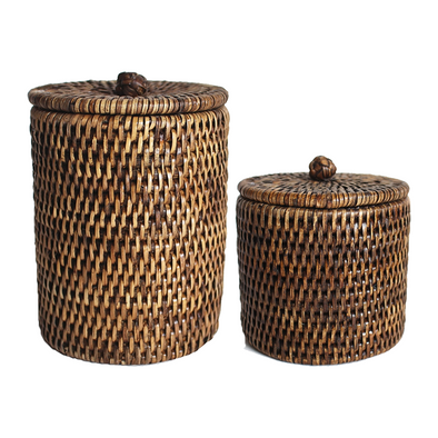 Rattan Canister Kit, Antique Brown