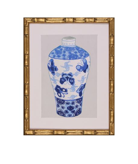 blue and white Asian style jar framed in gold bamboo