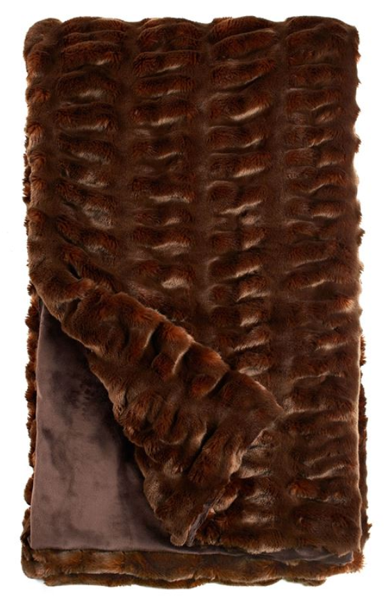 Brown Mink Faux Fur Throw