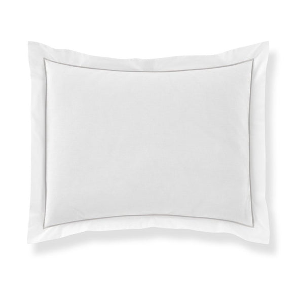 pillow sham with light gray piping