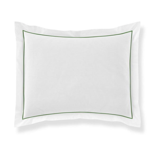 pillow sham with green piping