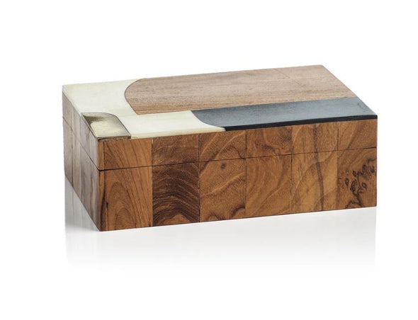brown mango wood box with bone, resin, and brass inlay in a modern design