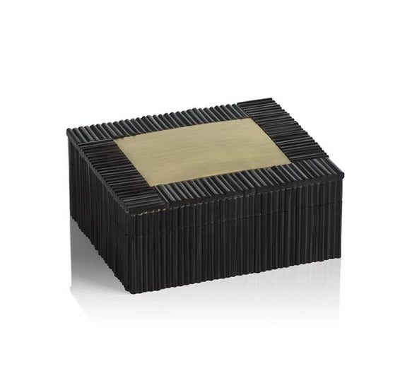 ribbed black resin box with brass inset detail