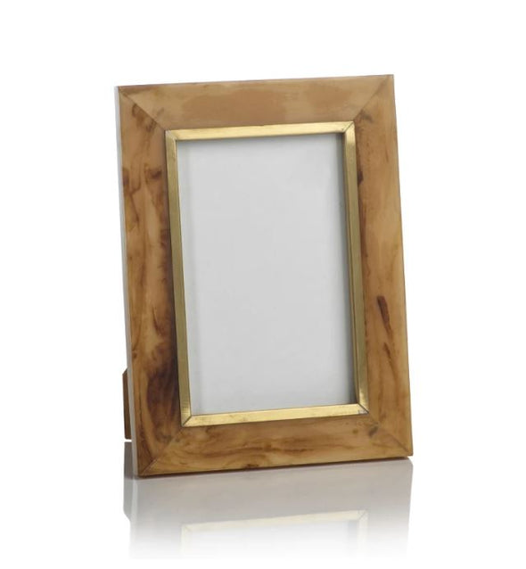 Natural horn photo frame with inlaid brass detail