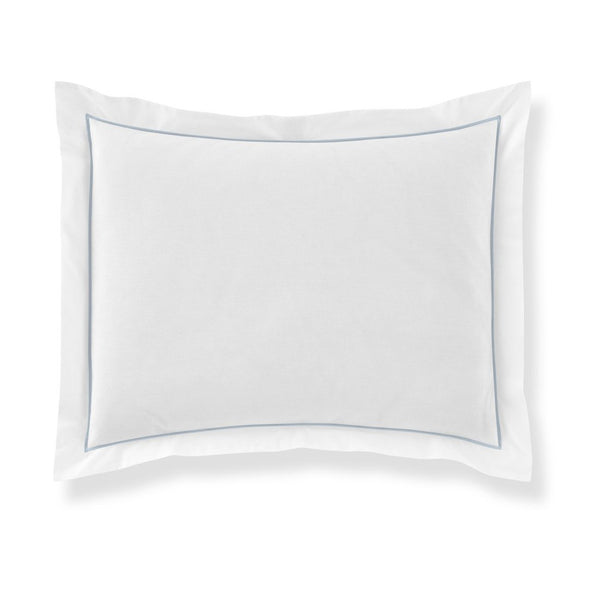 pillow sham with light blue piping