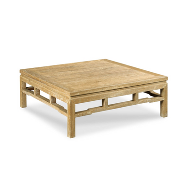 "Limed Oak Chinoiserie Coffee Table, 42"" Square"