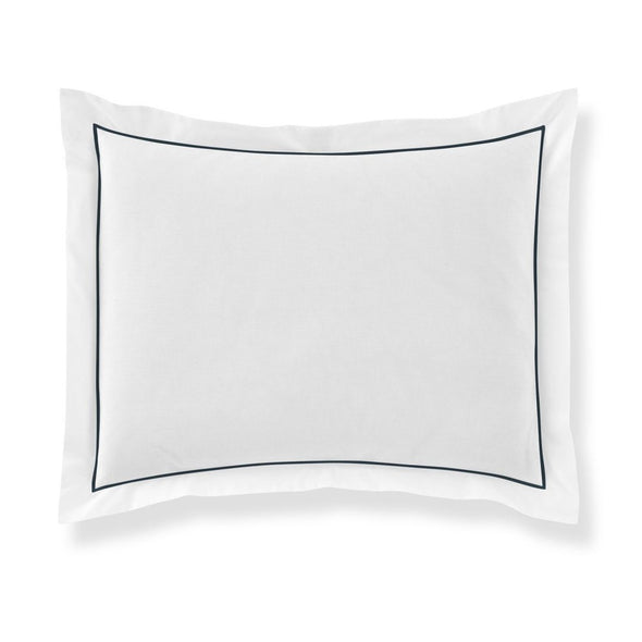 pillow sham with navy blue piping