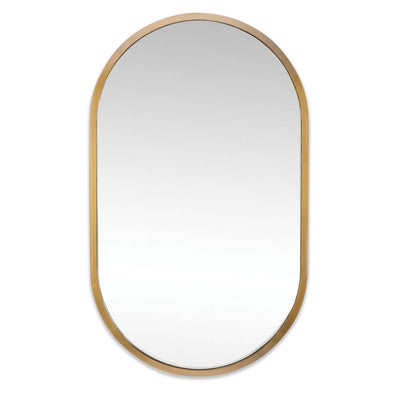 Oval shaped natural brass mirror