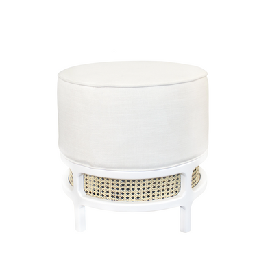 Palm Cane Stool, White