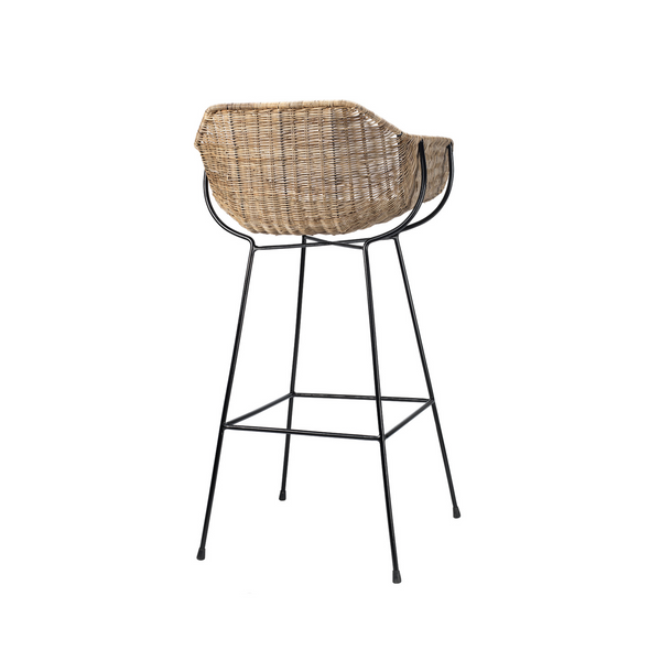 Barrow Stool, Natural Rattan