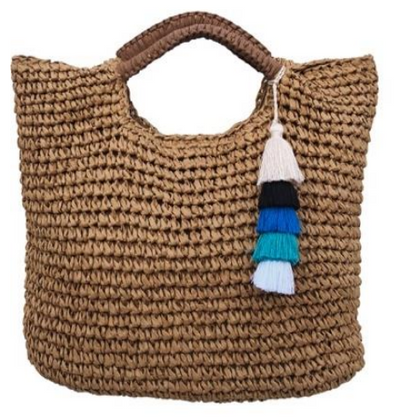 Beach Babe Woven Straw Tote