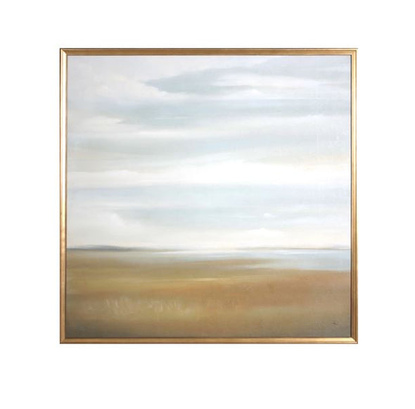 canvas art of a golden field and soft blue bay in the distance