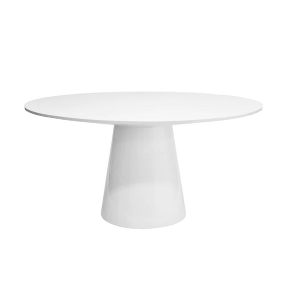 Wynwood Round Dining Table, White Lacquer