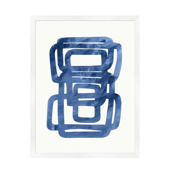 abstract contemporary navy and white art in modern white wood frame