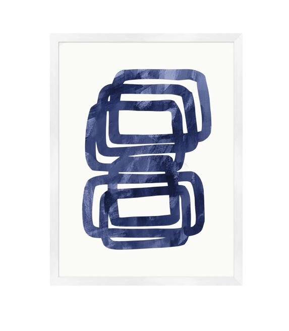 navy and white modern abstract contemporary art with white wood frame