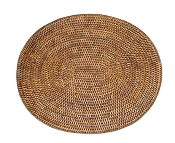 Rattan Oval  Place Mat Antique Brown