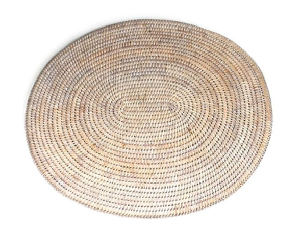 Rattan Oval Place Mat White Wash
