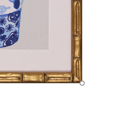 detail of gold bamboo frame