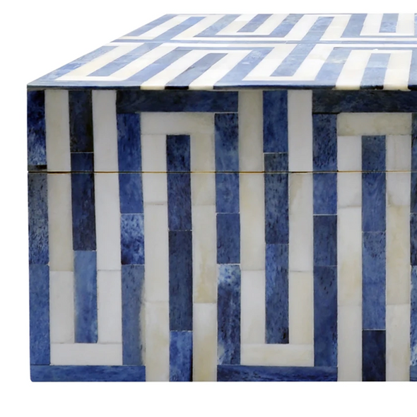 Labyrinth Bone Box, Blue & White