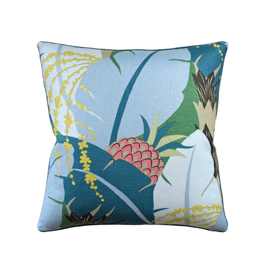 Tropical Palm Pillow, Bold Blue