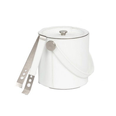 Brisbane Ice Bucket with Tongs, Bright White Leather