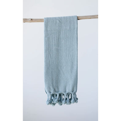 Aqua Cotton Throw w Tassels
