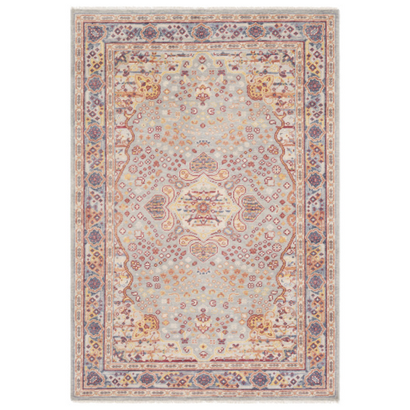 Strawberry Knoll Handknotted Rug, Harbor Blue + Barn Red