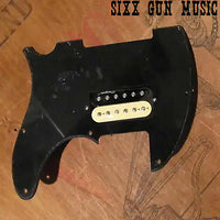 Tele Style Pickguard Loaded w/ Margasa Vintage Modern Humbucker, Black/Zebra