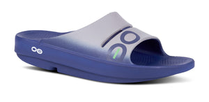 Men's OOahh Sport Slide Sandal - Navy & Steel - OOFOS