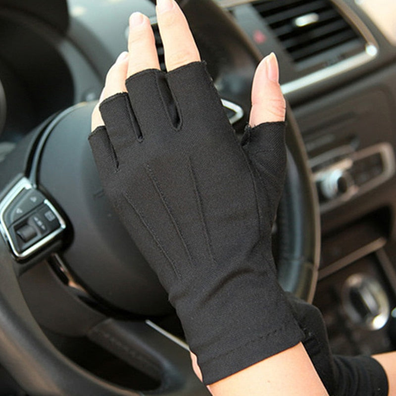 Car Driving Gloves Summer Anti-UV Gloves Men half finger gloves Thin Sweat Absorption Breathable Non-Slip Drive Hand Protector