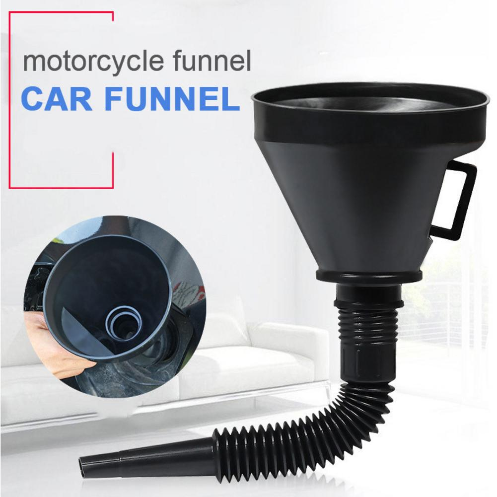 2 In 1 Plastic Funnel Can Spout With Flexible Extension Nozzle For Cars And Motorcycles, Engine Oil, Liquid, Diesel, Kerosene
