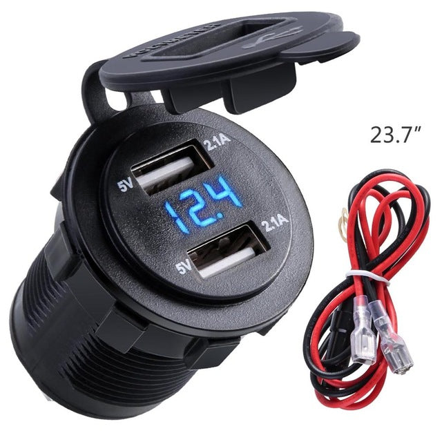 4.2A Waterproof Dual USB Charger Socket Power Outlet with Voltmeter LED light for 12-24V Car Boat marine ATV RV Motorcycle