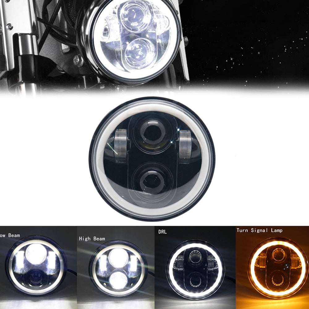 "5.75"" Motorcycle LED Headlight Bulb for Harley Dyna Sportster Victory Triumph Indian Motor HeadLamp Halo DRL Amber Turn Light"