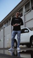 "Fitted ""the good life"" print long sleeve - black"
