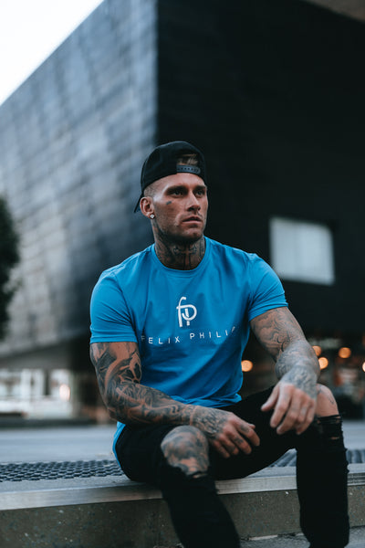 Fitted Original Print Tee - Blue (small only)
