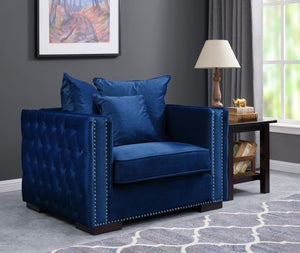 Mayfair Velvet Tufted Chair Royal Blue