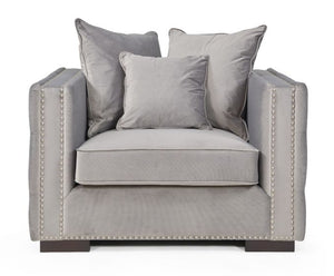 Mayfair Velvet Tufted Chair - Silver