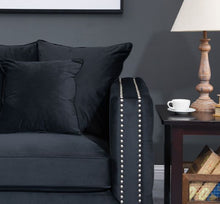 Load image into Gallery viewer, Mayfair Velvet Tufted Snuggle Chair Black